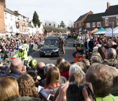Hearse containing Richard's 3rd coffin in Market Bosworth square