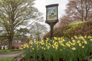 Market Bosworth town sign near the Memorial Garden with daffodils in the foreground