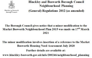 Official notice of the modification to the Neighbourhood Plan